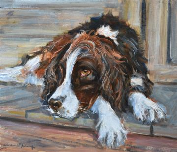 Richard Blowey Original Oil Painting Of A Springer Spaniel Dog